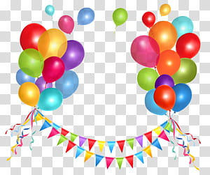 Gâteau d'anniversaire Balloon, Party Streamer and Balloons, lot de ballons png