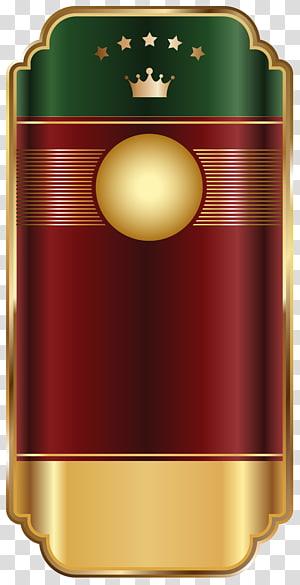 illustration verte, marron et jaune, étiquette, modèle étiquette rouge doré png
