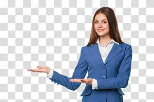 Gens d'affaires recommandé faire, de femme en blazer bleu sur fond bleu png