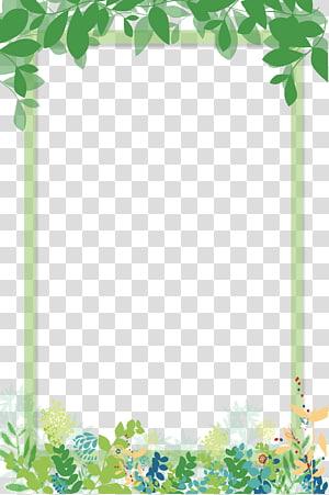 cadre de feuilles vertes, fichier informatique, une belle bordure de bande dessinée verte png