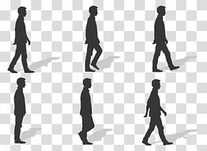 silhouette de six hommes illustration, cycle de marche à pied Euclidienne, silhouette png