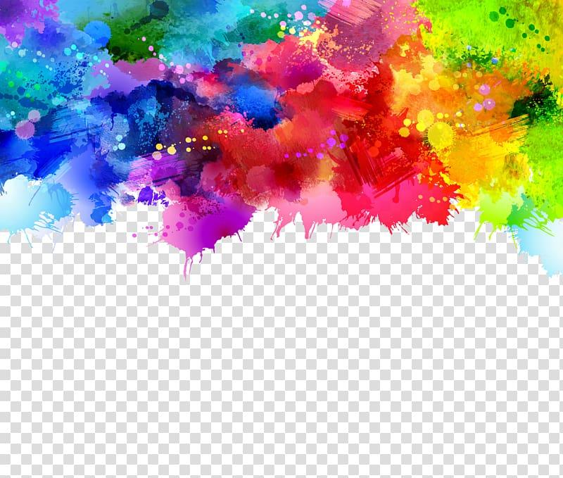 Aquarelle, peinture abstraite sur fond Graffiti, rose, vert et bleu png