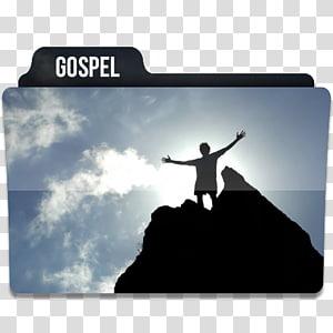 silhouette d'homme debout sur l'icône de dossier de falaise, silhouette de ciel, Gospel 1 png