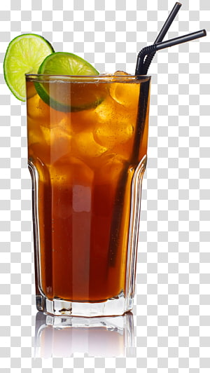 verre à boire rempli de jus avec illustration de paille noire, cocktail de thé glacé Long Island Mojito Triple sec, cocktail png