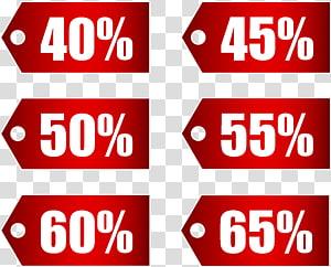 Balises de pourcentages blancs et rouges, Coupon de réduction, Ensemble de balises de réduction rouges, partie 2 png