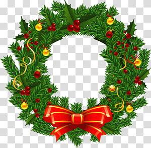 Guirlande de Noël Père Noël, grande guirlande de Noël, couronne verte et rouge png