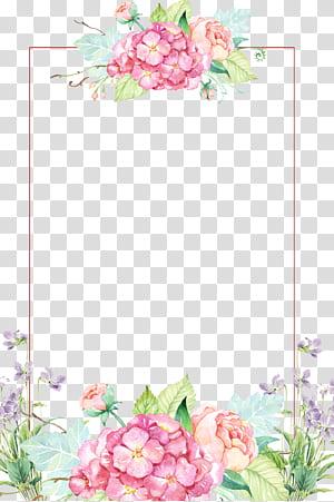 Fleur, belles bordures de fleurs, bordure florale rose et jaune png