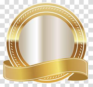 Graphiques évolutifs dorés, sceau d'or avec ruban d'or, logo rond or et blanc png