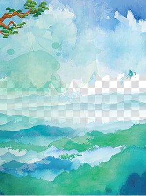 peinture de ciel, aquarelle u6c34u5f69u98a8u666fu756b, fond de mer de nuages de ciel bleu aquarelle png