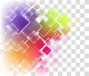 illustration abstraite multicolore], Art abstrait, Courbe de carrés géométriques abstraits colorés png
