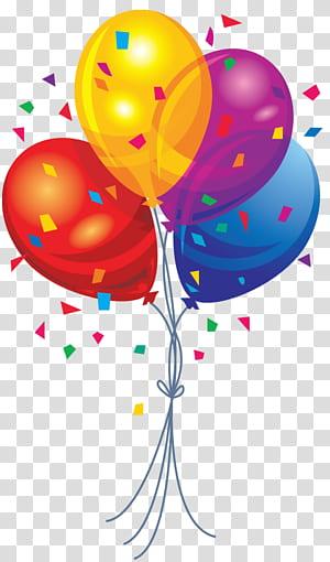 Ballon, ballons multicolores, illustration de ballons rouges, jaunes, violets et bleus png