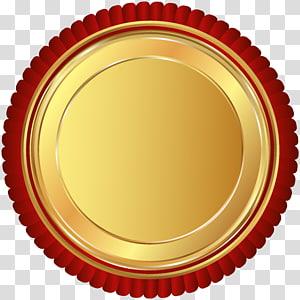 logo rond rouge et or, insigne du sceau rouge doré png