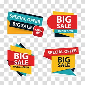 Illustration de vente affiche logo, modèle de brochure affiche de shopping coloré vente flyer, éléments de vente discount pour la publicité, grande vente AD png