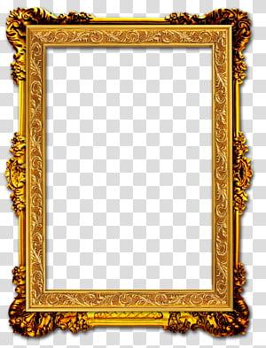 cadre Cadre doré, cadre doré, cadre rectangulaire orné de brun png
