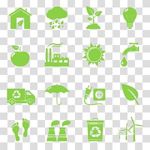 assortiment de panneaux verts collage, icône de symbole de recyclage respectueux de l'environnement, énergie et protection de l'environnement png