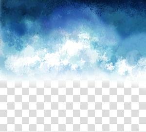 Nuages euclidiens et créatifs peints à la main, bleus et blancs, bleus et blancs png