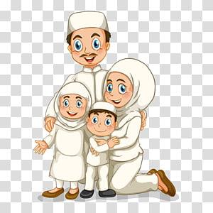 Illustration de la famille, illustration des figures de la famille musulmane, famille de l'illustration homme, femme, fille et garçon png