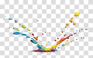 Peinture d'encre de couleur, gouttes d'eau, éclaboussures de peinture png
