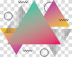 Abstraction de triangle, triangle abstrait rose, triangles sarcelle et rouge png