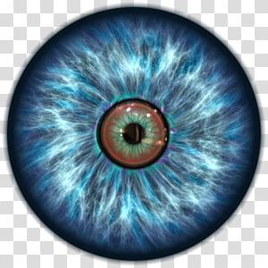 illustration de globe oculaire bleu, icône oeil, oeil png