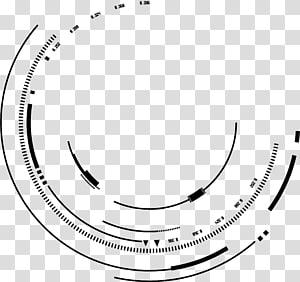 Lignes d'encre créatives en matériau psd, cercle géométrique tourbillonnent des lignes de sens technologique png