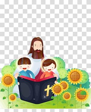Jésus-Christ avec deux enfants lisant la Bible sur le champ de tournesols, Bible Child Catechism Christianity Religion, jésus png