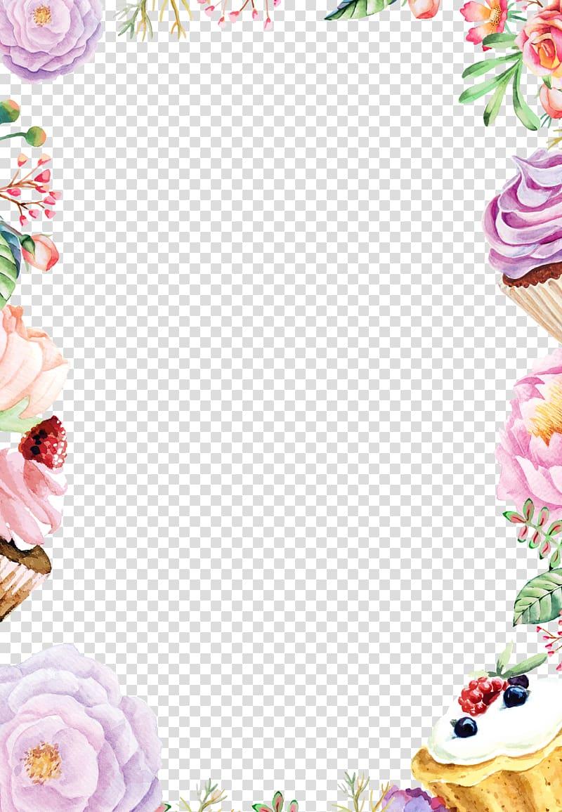 Aquarelle Dessin De Fleurs, Gâteau Aux Frontières Aux Fleurs Aquarelle, Fleurs Assorties Et Des Petits Gâteaux png