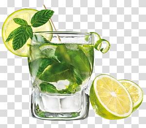 Verre à boire rempli de liquide clair, Mojito Rum Cocktail Eau gazéifiée Limonade, Mojito s png