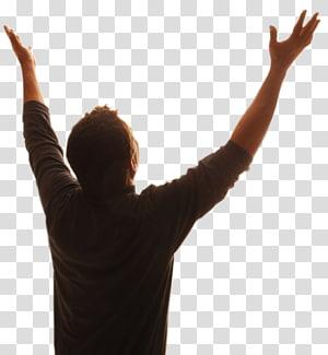homme vêtu d'une chemise marron en levant les mains, Bible Dieu, prière du Seigneur, adoration, prière png