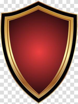 illustration de bouclier rouge et marron, insigne, insigne rouge png