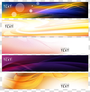 Bannière Web publicité, fond de bannières, collage de cinq illustration png