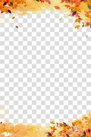 bordure de feuilles orange et vert, Affiche Promotion de la publicité publicité publicitaire automne, automne feuilles fond png