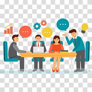 quatre personnes discutant d'illustration, réunion d'homme d'affaires, travail d'équipe png