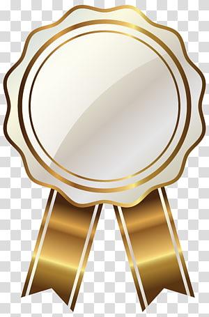 Graphiques évolutifs dorés, sceau blanc avec ruban doré, illustration de ruban brun et doré png