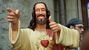 statue à côté de l'homme, Jésus-Christ Rédempteur Dogma Buddy Christ Statue, Jésus-Christ png