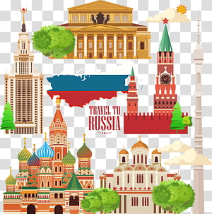 Illustration de structures célèbres russes, Illustration de voyage du Kremlin de Moscou, Russie City Travel png