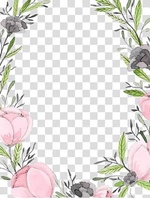 Lettre de papier d'invitation de mariage, cadre en dentelle peinte à la main, cadre floral rose et gris png