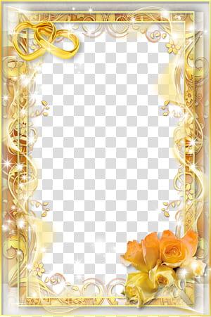 Cadre d'invitation de mariage, cadre de mariage, cadre de fleur jaune png