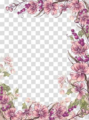 Illustration florale de conception florale de fleurs, fond de bordure de fleurs pourpres d'encre pourpre, illustration de fleurs pétales violettes png