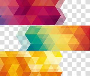 Géométrie Abstraction géométrique Géométrie euclidienne et abstraite, trois peintures abstraites rose, jaune et verte png
