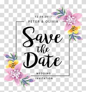 Mariage Réservez la date, bordure de fleurs, Save The Date advertisement png