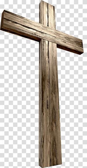 croix en bois marron, croix chrétienne Crucifixion de Jésus couronne d'épines, croix png