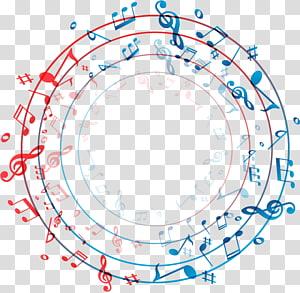rondes frontière de modèle de notes de musique, musique, bague de notes png