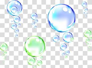 illustration de pompons vert et bleu, Drop Bubble Water, Water Bubble png