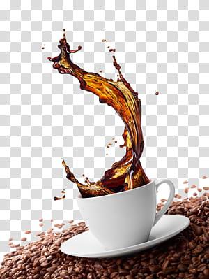 Café vert Cappuccino Café Grains de café, effet de projection de café, tasse en céramique blanche sur les grains de café png
