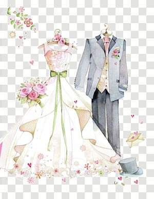Invitation de mariage épouse mariage mari ,, mariage peint, costume gris et illustration de la robe de mariée png