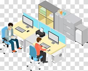 Bureau, gens d'affaires, gens, sur, bureau, ordinateurs, illustration png