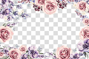 Cadre de fleur, bordure florale colorée, cadre floral rose et violet png