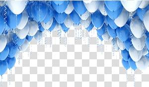 Illustration de ballon bleu, arches de ballon, ballons bleus et blancs png