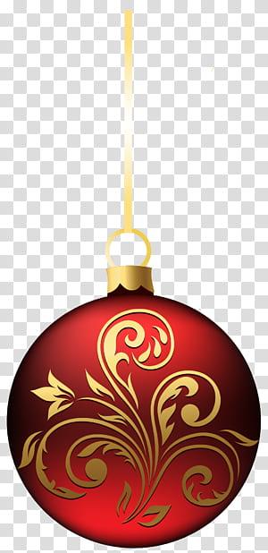 Décoration de Noël, décoration de Noël, grande suspension de boule de Noël BlueRed, suspension rouge et marron png